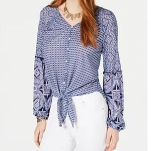 Style & Co Mixed-Print Tie-Front Button-Up Top